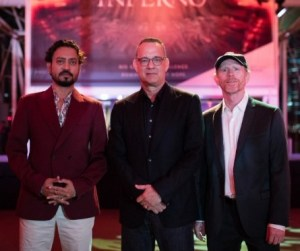 HOT TIMES--Ron Howard and Inferno stars Tom Hanks and Irrfan Khan on the red carpet at the ArtScience Museum at Marina Bay Sands resort in Singapore as they get an early start on publicity for their movie's release later this year.