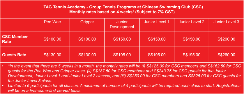 TAG Tennis Academy Group Tennis Lessons Rates at Chinese Swimming Club