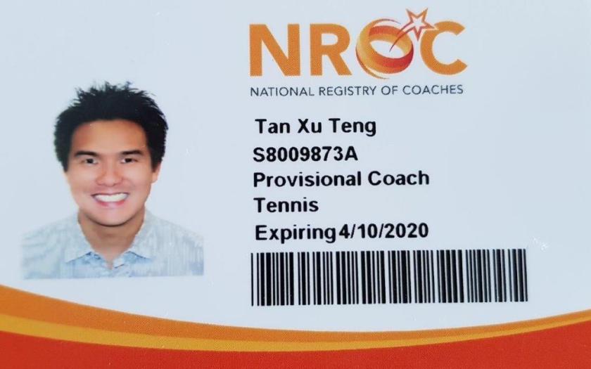 Coach Tan Xu Teng, Coach XT, Coach X a certified tennis coach in Singapore with the National Registry of Coaches by SportSG