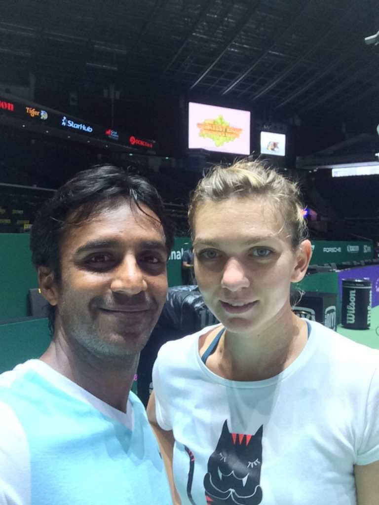 Coach Pratim of TAG International Tennis Academy and Simona Halep