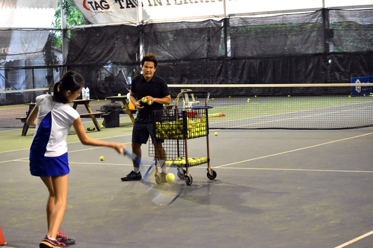 Coach X doing this private tennis lesson in Singapore at Winchester Tennis Arena, Singapore