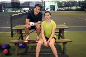 Coach XT with Junior tennis girl, Kyra after private tennis lesson at Winchester Tennis Arena