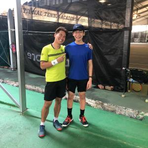 Singapore Top Tennis Junior - Aaron Chiu with Coach Xt