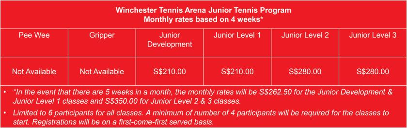 Winchester Tennis Arena Junior Tennis Classes