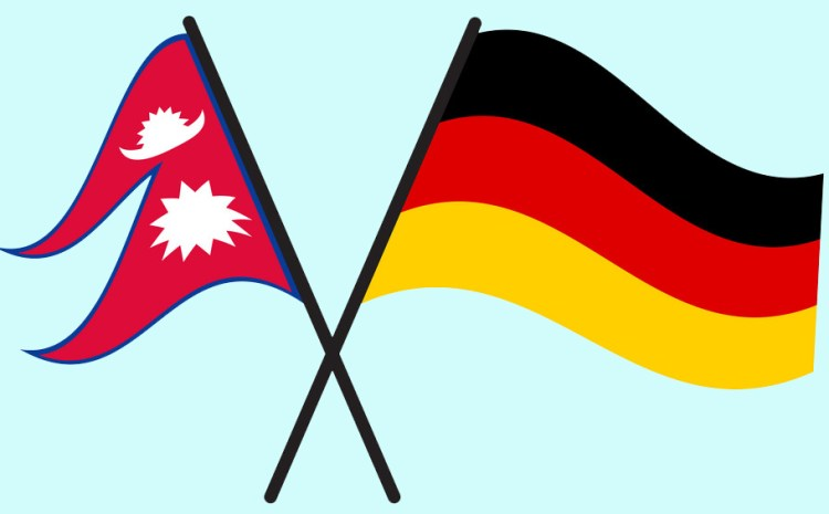 Nepal and Germany Flags Crossed And Waving Flat Style. Official Proportion. Correct Colors.