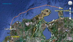 GPS track of passage to Cartagena in Google Earth