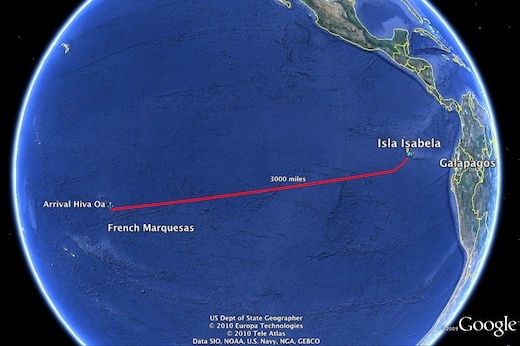 Map of our route to the Marquesas from the Galapagos