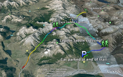 GPS track view in Google Earth of our hike