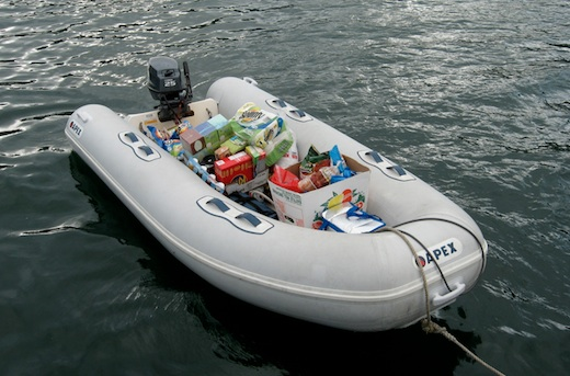 Our dinghy full of food