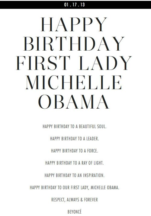 Beyonce wishes our 1st lady a Happy Birthday!