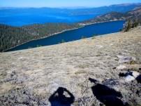 Looking down on Marlette Lake and Lake Tahoe