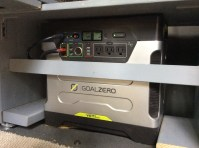 Goal Zero Yeti 1250- a plug and play solution to van electrical! The most expensive thing we bought. Worth it!