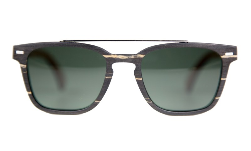 Head on view of the Bristlecones. These frames feature a green, polarized lens.