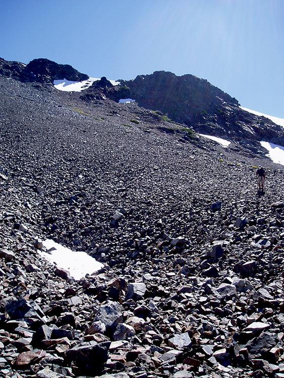 Loose Rock Below Pyramid Peak