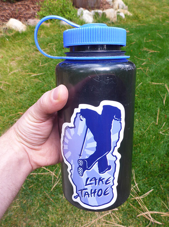 Hike Lake Tahoe Sticker on a Nalgene Quart Bottle