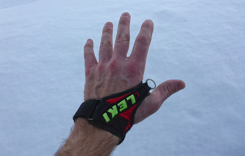 The loop between my thumb and forefinger is the connection that links the strap (my hand) to the cross-country ski pole. © Jared Manninen