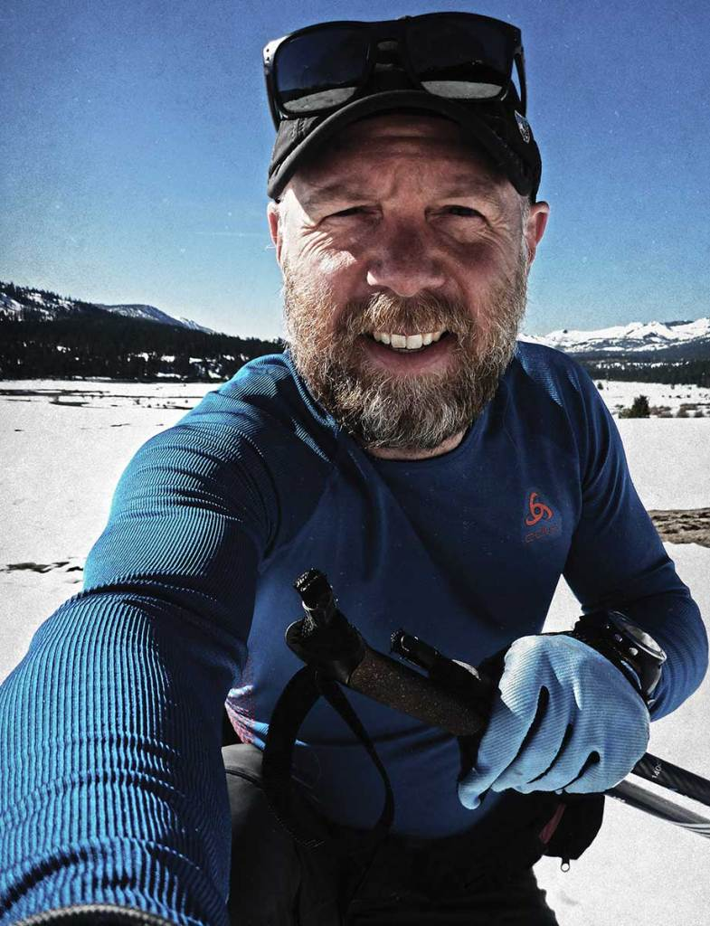 Jared Manninen cross-country skiing in Hope Valley, California
