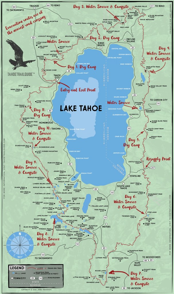 Example of a Tahoe Rim Trail map with notes written on it
