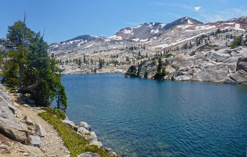 Dicks Lake below Dicks Peak viewed from the Tahoe Rim Trail