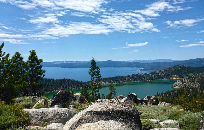 Granite boulders, Marlette Lake, and Lake Tahoe
