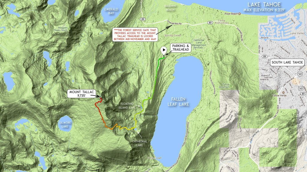 Map showing the route to hike up Mount Tallac from the Mount Tallac Trailhead