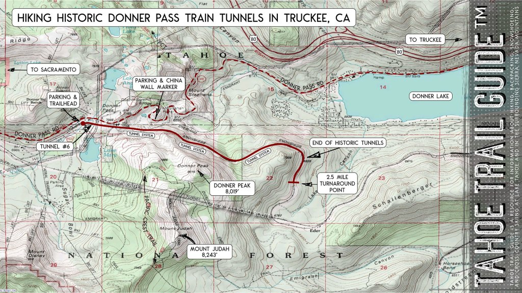 Hiking Donner Pass Truckee Train Tunnels Map