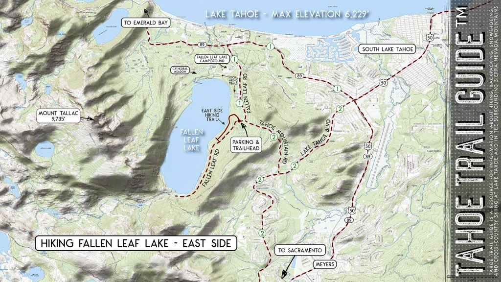 Hiking Fallen Leaf Lake (East Side) Map
