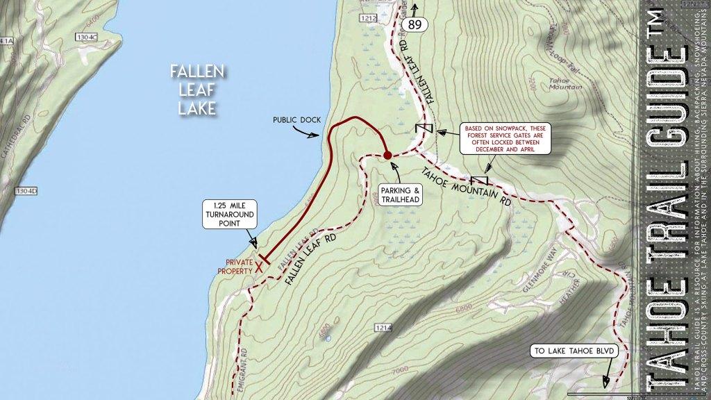 Hiking Fallen Leaf Lake (East Side) Close-up Map