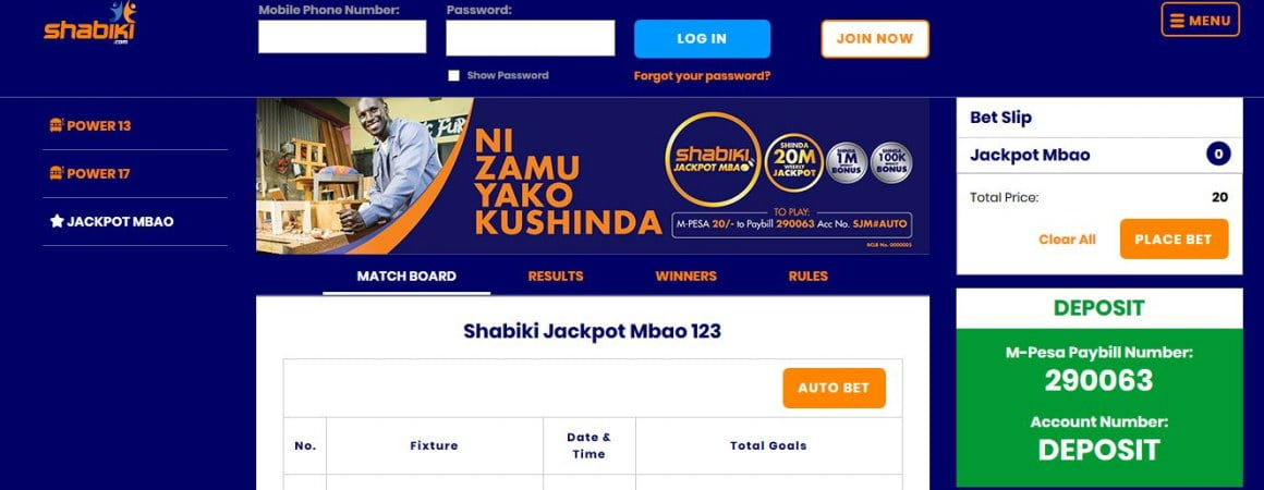 Shabiki Jackpot Mbao Results,Bonuses and Jackpot Winners