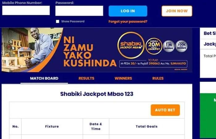 Shabiki Jackpot Mbao Results,Bonuses and Jackpot Winners