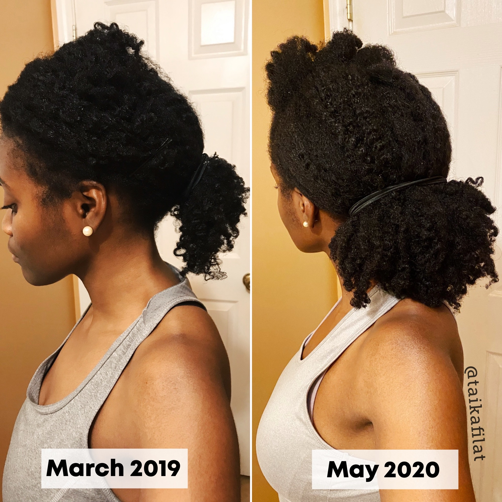 Compare and contrast hair growth progression picture of a woman with 4c natural hair.