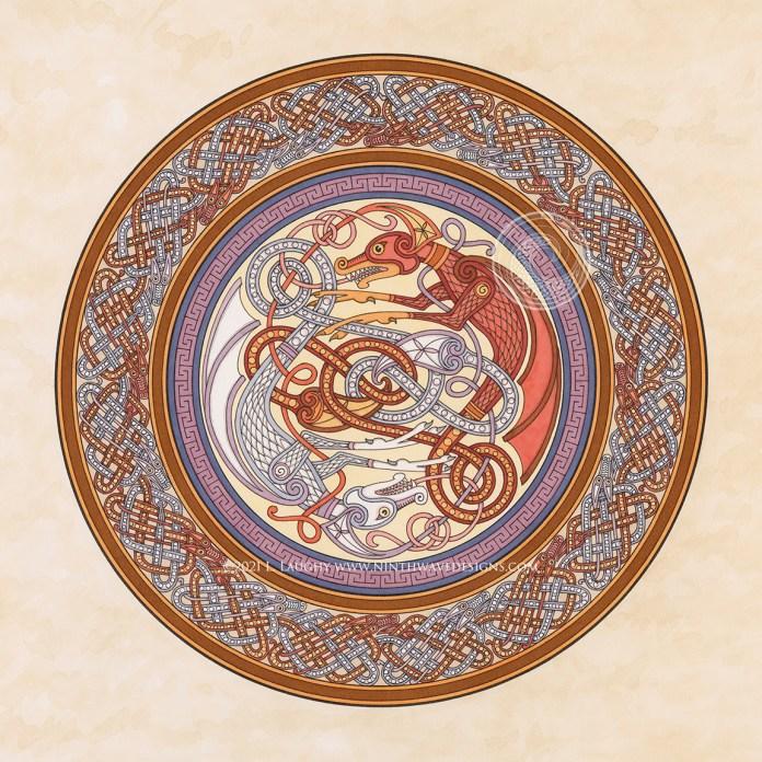 "Dragon Shield (Cymri): 10.5"" x 10.5"", acrylic inks on paper."