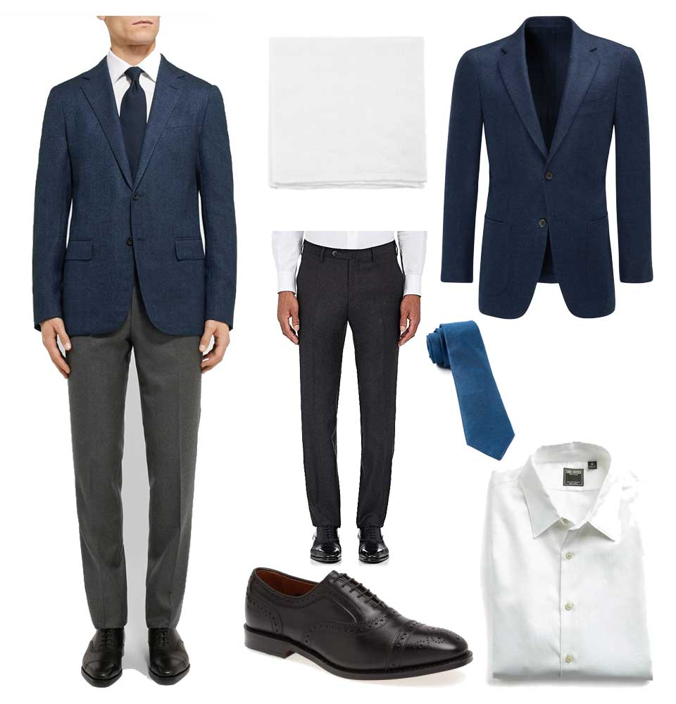 A less expensive version of a Kingsman style blazer and trousers