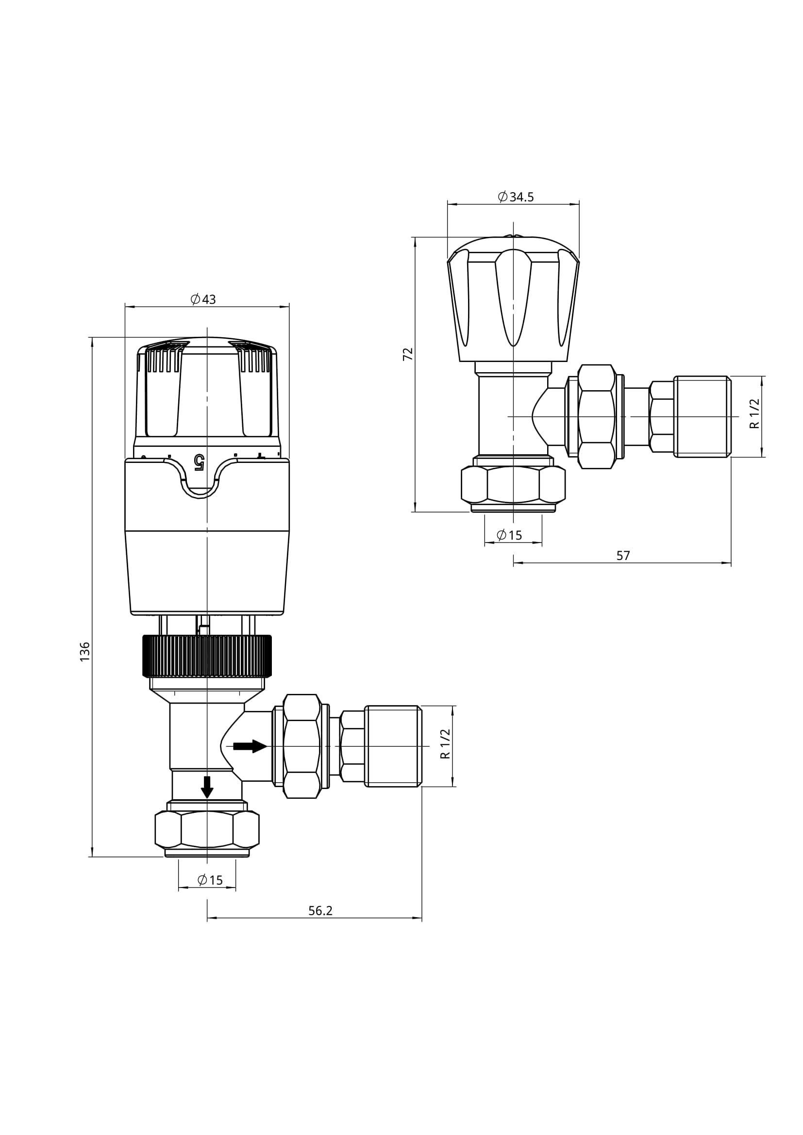 Thermostatic Towel Rail Radiator Chrome Straight Angled