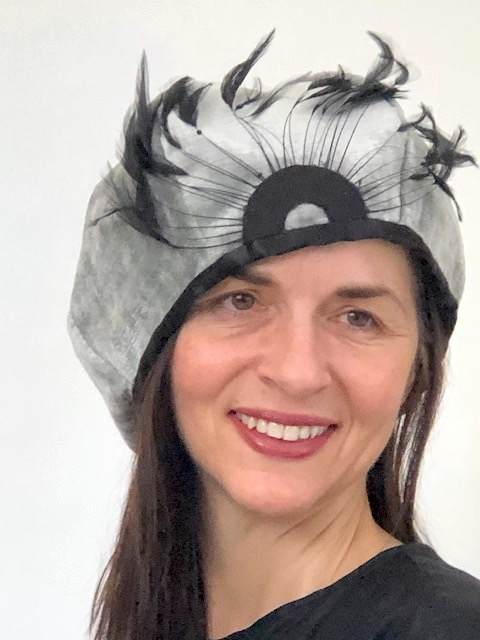 Silver Peacock Cloche-Style Hat