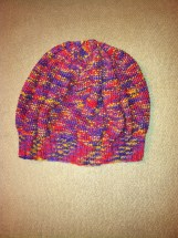 Slouchy beanie, ribbed brim with seed stitch body, bamboo, rainbow colors