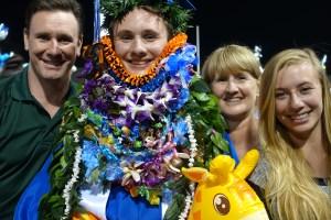 Conner got lei'd at graduation.