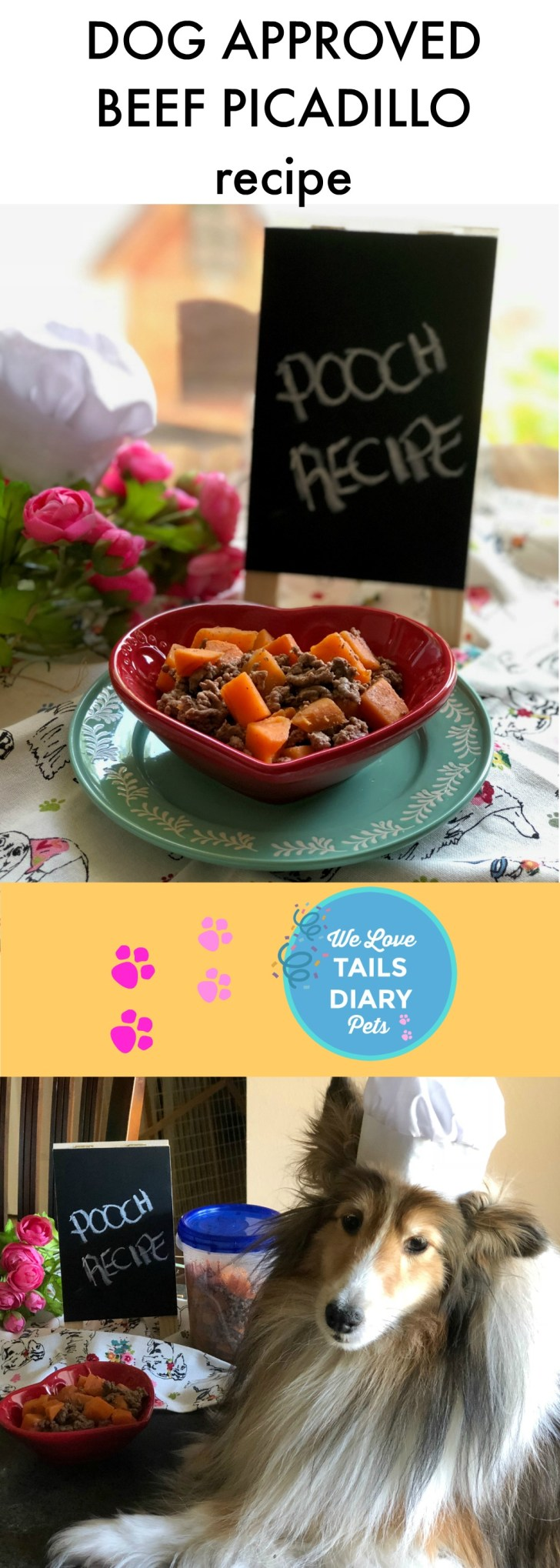 This dog approved beef picadillo is a simple recipe appropriate for dogs. It has only three ingredients: lean beef, fresh sweet potatoes and a small portion of corn oil. It is easy to make and it is freezer friendly