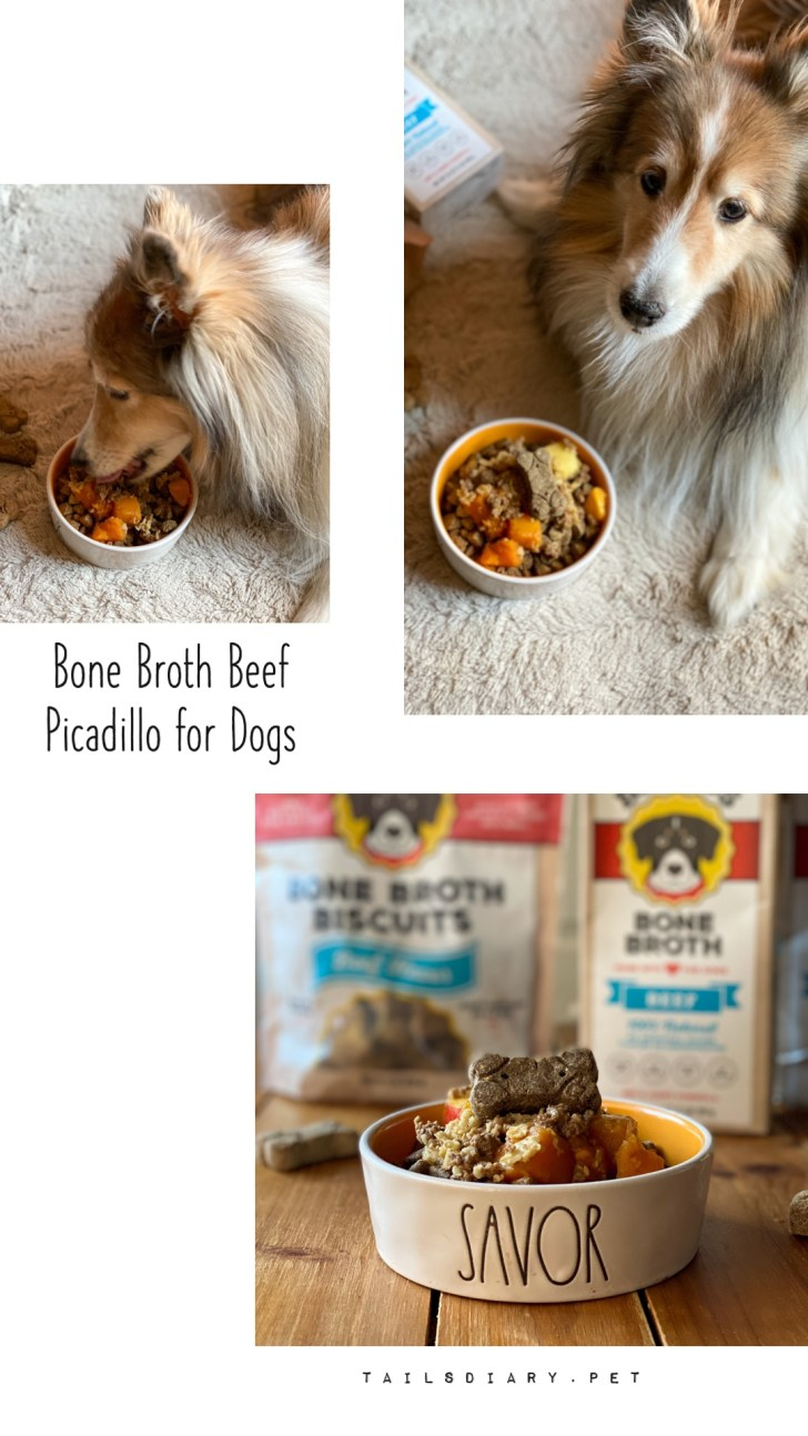 A homemade dog recipe with beef, fruit, and produce