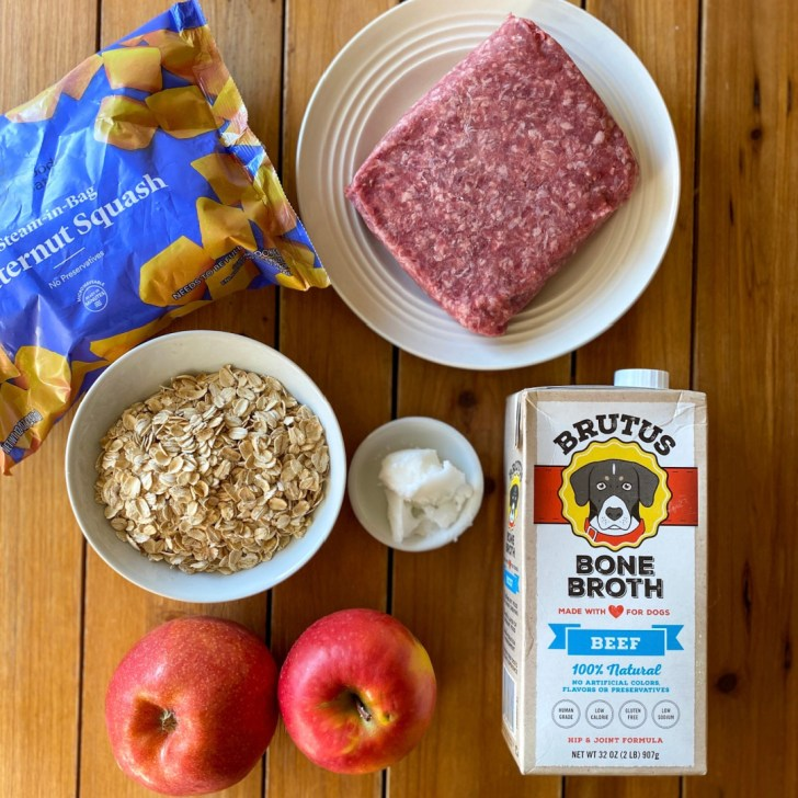 Ingredients for the dog recipe include beef, apples, bone broth, and oats