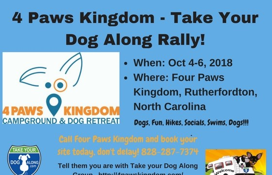 Take Your Dog Along Rally @ 4 Paws Kingdom Campground