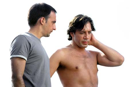 Alejandro Amenabar with Javier Bardem on the set of 'The Sea Inside'