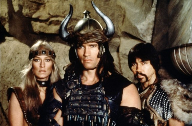 Sandahl Bergman, Arnold Schwarzenegger and Gerry Lopez in 1982's 'Conan the Barbarian'
