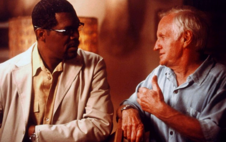 John Boorman with Samuel L. Jackson on the set of 'In My Country'