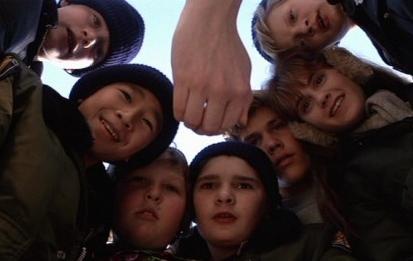 From left to right: Sean Astin, Jonathan Ke Quan, Jeff Cohen, Corey Feldman, Josh Brolin, Kerri Green and Martha Plimpton in 'The Goonies'