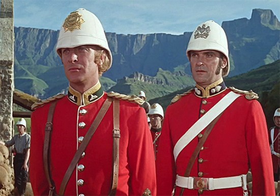 Stanley Baker (right) and Michael Caine in 'Zulu'