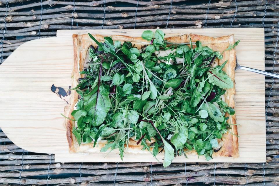 Mushroom and fresh herb tart at Babylonstoren