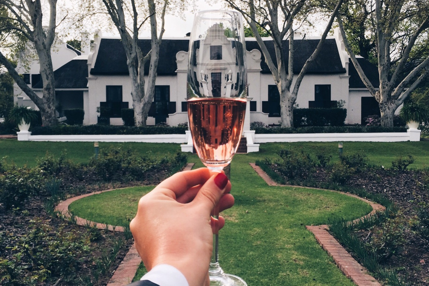 glass of bubbly in winter winelands
