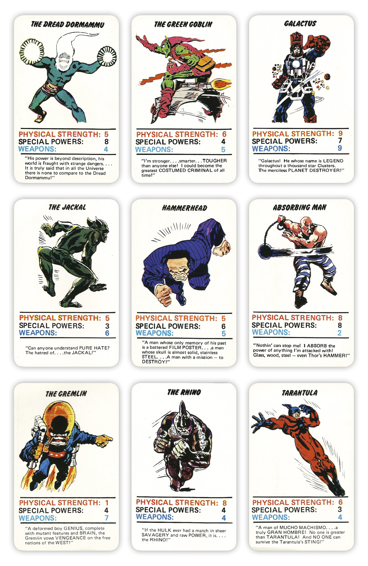 Marvel Superheroes Top Trumps Card Game