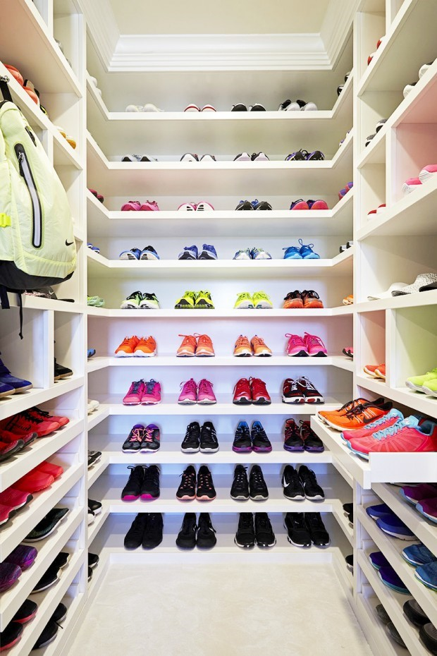 This Closet Is Dedicated Solely To Her Gym Gear And Apparel With Different Sections For Tops Tees Leggings Shorts Accessories